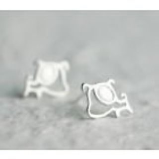 New - Girls Dainty Dog 925 Sterling Silver Stud Earrings