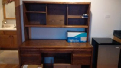 Wood desk and hutch