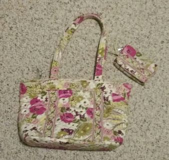 Used Vera Bradley Make Me Blush Purse and Wallet Set