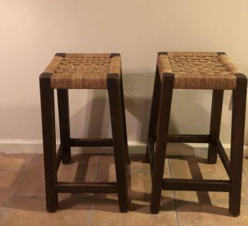 Two wooden barstools