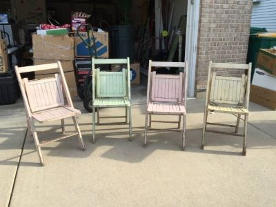 4 Antique Wooden Folding Chairs...Beautiful!