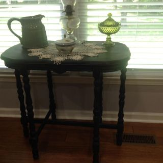 6 legged table painted bohemian blue and distressed.