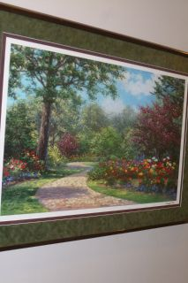 Huge 2' x 3' Deep Rich Colors, Dark Wood Frame, Walk in the Park, by Shaeffer/Miles, matted/fram...