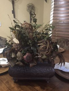 """Tuscan Floral Arrangement Centerpiece. Approx 12""""x19"""" (at highest point of greenery)"""