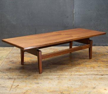 Jens Risom Long Walnut Coffee Table Mid-Century