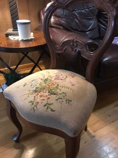 Vintage accent Chair. Tapestry seat