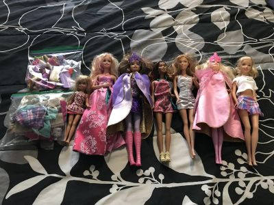 Barbies, clothes and shoes