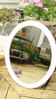 cream colored shabby chic oval mirror