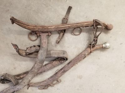 2 sets of horse hames with knobs