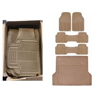 Motor Trend Odorless Car Floor Mats Heavy Duty Rubber 3 Rows with Large Cargo Trunk Mat, Beige