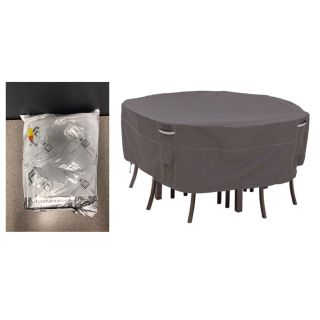 Classic Accessories Ravenna Round Patio Table and Chairs Set Cover, Medium-Large