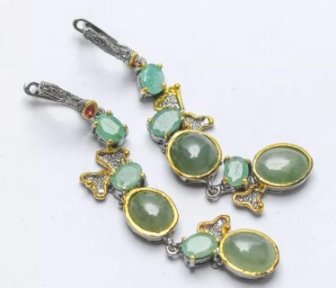 Emeralds and Aquamarine set in Sterling and 14 Carat gold