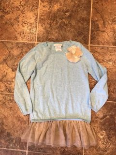 Bonnie Jean 6X blue and gold tulle sweater dress