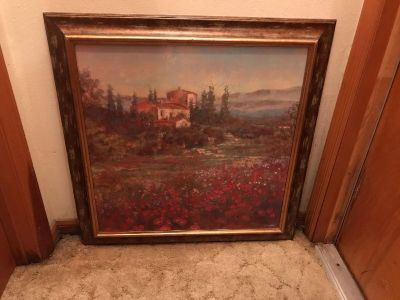 29 x29 Oil Feel Painting. Signed By Long . Wood Look Plastic Frame