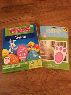 Brand new in packages. Easter bunny paper tracks and pass egg dying kit. Asking $2 for both