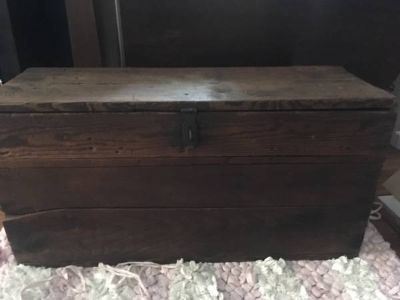 Primitive Antique Large Wood Tool Box with Pull out tray