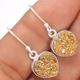 "New - Dainty Sparkling Hearts Golden Titanium Druzy 925 Sterling Silver 1"" Earrings"