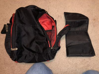 Fisher Price Red & Black Diaper Bag Excellent/Good Condition 4 Side Pockets 1 Top Pocket 1 Front Pocket & 3 Inside Pockets With Changing Pad