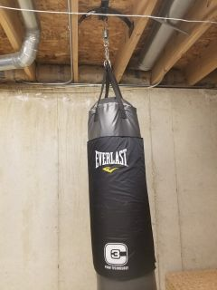 Everlast C3 100 lb. heavy bag with mouning bracket and spring.