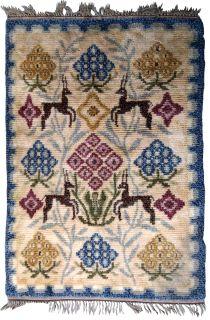 Handmade vintage Scandinavian Rya rug, 1B595