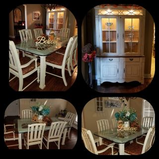 Table, 6 chairs, Hutch