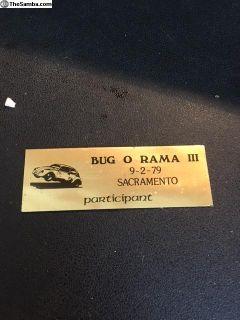 Sacramento Bug-O-Rama #3 9/2/1979 Dash Plaque