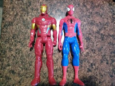 "Marvel Action Figures Spiderman and Iron Man 12"" Figures"