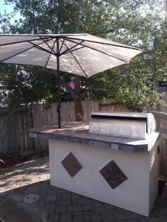 7 ft 5 burner outdoor kitchen with gas grill and mini fridge