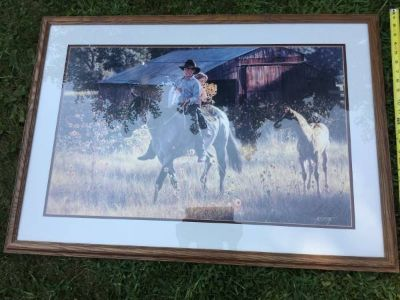 Framed artwork horse in field by artist Tim Cox