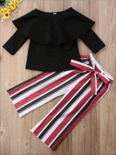 Designer Black Off Shoulder Top & Stripe Pants Set For Girls