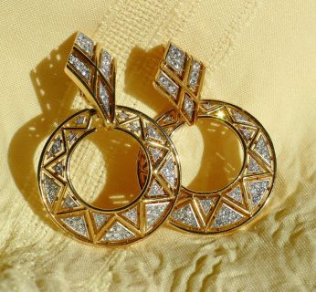 Trifari Baguette Gold/ Rhinestone Hoops Earrings