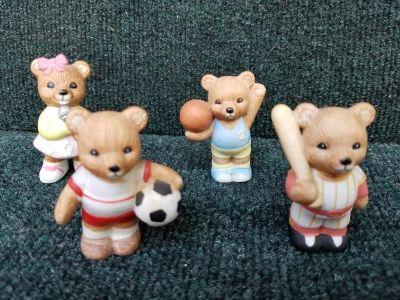 Set of 4 Porcelain Teddy Bears, 3 Sports and 1 holding miceophone
