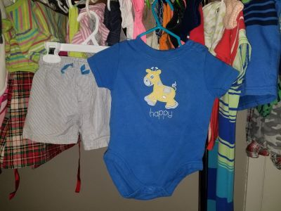 6-9 months. Lots of boys clothes available