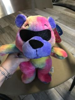 Tie dye bear with sunglasses on. New with tags.