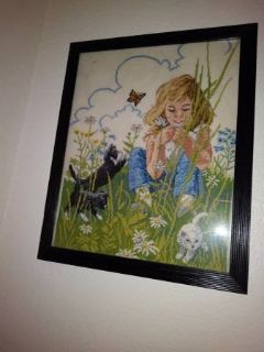 Framed Embroidery of Little Girl with Kittens and Butterfly