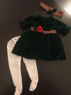 Very Cute Green Velvet Doll Dress with tights and headband for 18 Dolls Excellent Condition $4.00