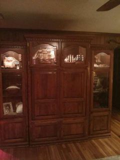 Gorgeous Wall Unit in Solid Hardwood--Like New