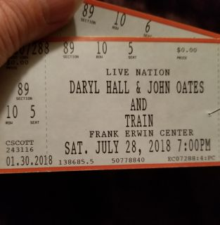 2-Tix to Daryl Hall & John Oates with Train*Frank Erwin Ctr.* July 28th both for $80
