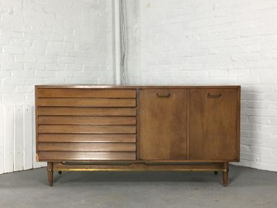 Faceted Front Mid-Century Dresser w/ Brass Trim