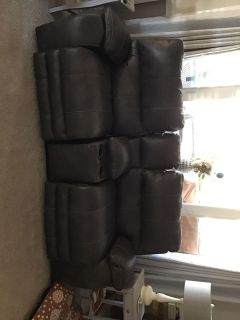 New, Gray Love seat with reclining chairs Excellent condition