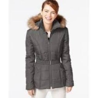 CLEARANCE ***BRAND NEW***Ladies KRUSH Faux-Fur-Trim Belted Puffer Coat***SZ Med