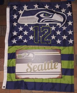 $20 Firm For Both Brandnew Seahawks 12 man Flag & Wood wall decor-Flag is folded in half in pic