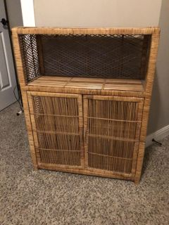 VINTAGE WICKER CABINET WITH 2 SHELVES AND DOORS
