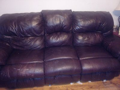 Leather couch.