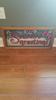 Christmas stained glass in wood frame