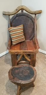 Teak hand crafted chair with footstool