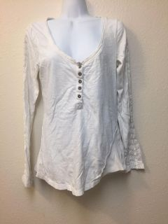 Free People White Embroidered Long Sleeve Size Large