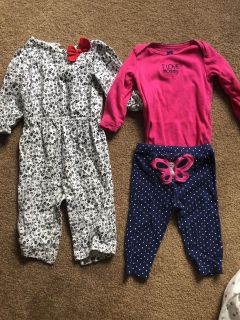 Two carters size 9 month outfits