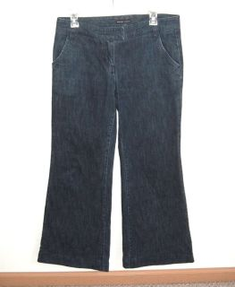 New York & Company Wide Leg Flare Jeans Womens 6 x 29 Stretch Flap Pockets
