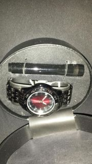 New in Box Masculine black chrome watch and flash light gift pack